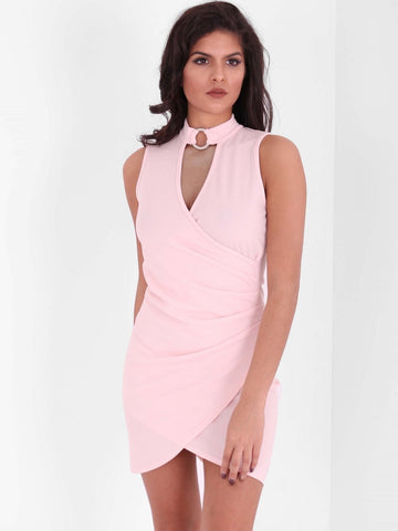 Asymmetric Hem Keyhole Details Mini Dress