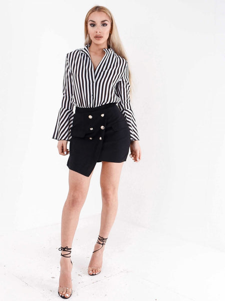 Asymmetric Hem Sailor Button Skirt