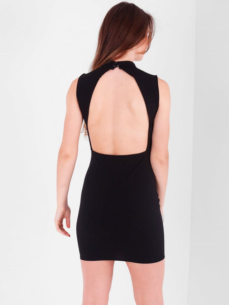 Backless Lace up Detail Mini Dress