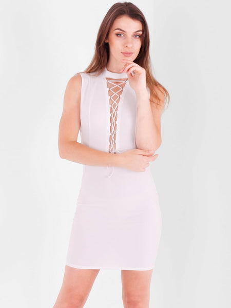 Backless Lace up Detail Mini Dress - Inoxclothing