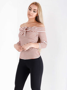 Bardot 3/4 Sleeve Stripped Top - Inoxclothing