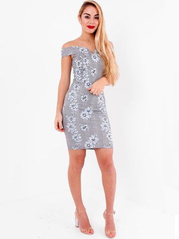 Bardot V Neck Bodycon Dress