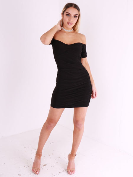Bardot V Neck Rushed Mini Dress