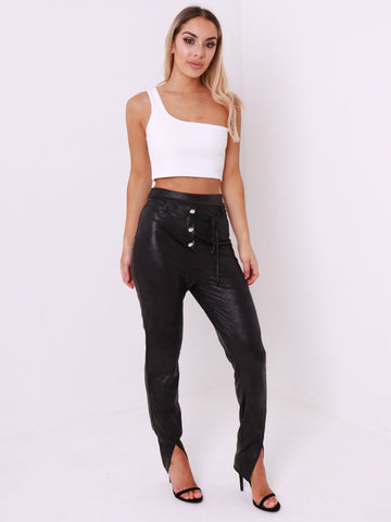 Black PU Button Front Split Leg Trouser - Inoxclothing