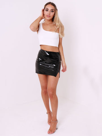Black Vinyl Mini Skirt - Inoxclothing