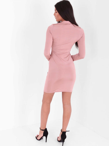 Bodice Ruching Detail Slinky Dress - Inoxclothing