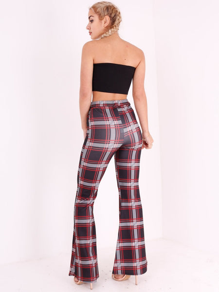 Check Print Fit and Flare Trousers - Inoxclothing