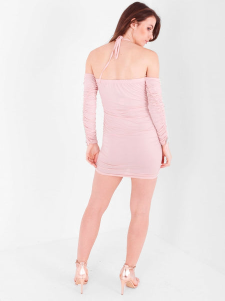 Cold Shoulder Ruche Halter Dress