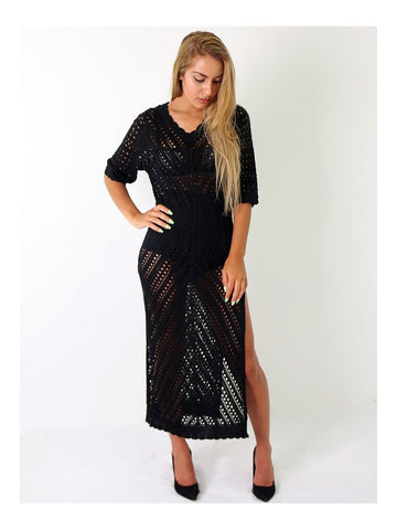 Crochet Side Split Maxi Dress