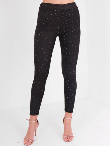 Diamante Stud Detail Full Length Legging - Inoxclothing
