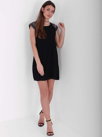Embellished Cap Sleeve Shift Dress
