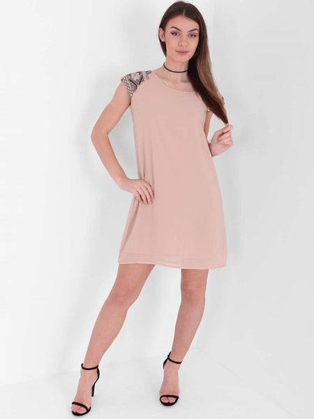 Embellished Cap Sleeve Shift Dress - Inoxclothing