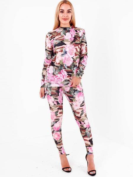 Floral Khaki Camouflage Lounge Wear Set - Inoxclothing