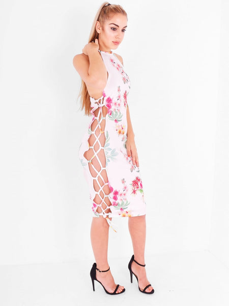 Floral Lace Up Side Midi Dress