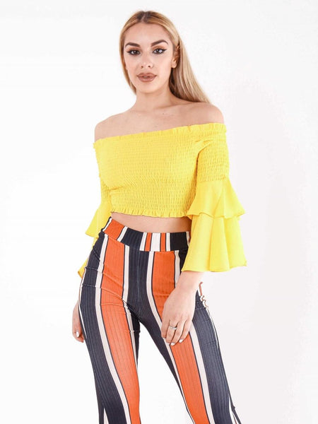 Frill Sleeve Bardot Crop Top