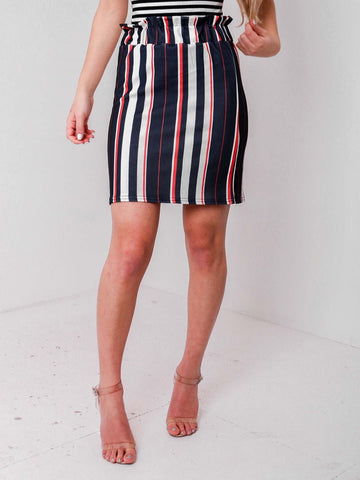 Frill Waist Stripped Skirt