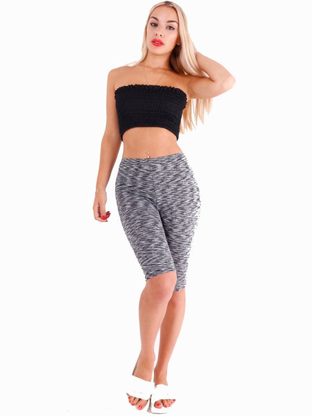 Grey Cropped Basic Leggings Shorts - Inoxclothing