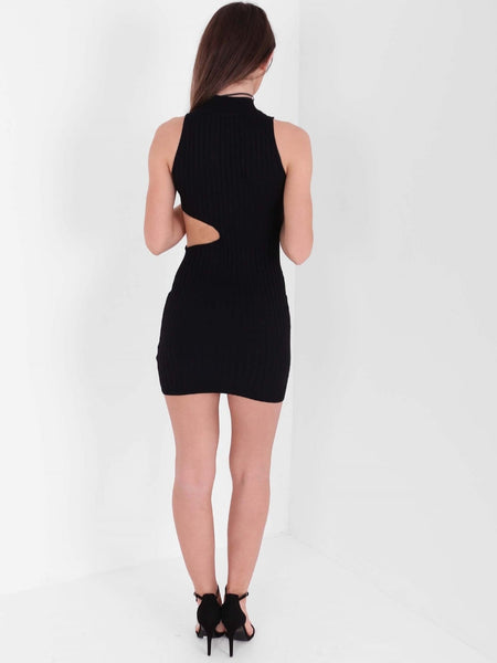 High Neck Cut Out Waist Ribbed Dress