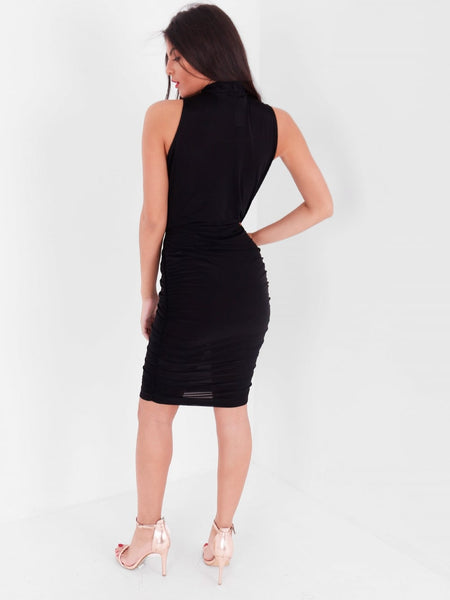 High Neck Ruched Slinky Dress - Inoxclothing