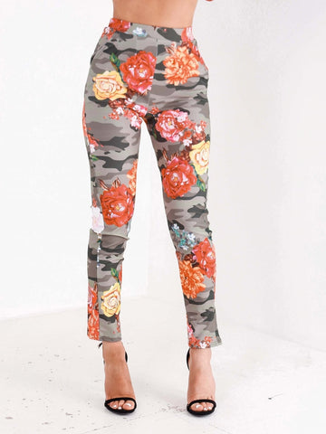 High Waisted Camo/Floral Print Trousers