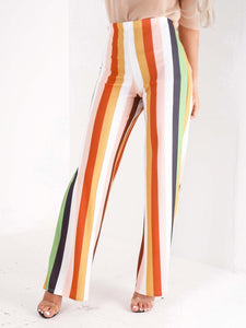High Waisted Multi Stripe Trousers - Inoxclothing
