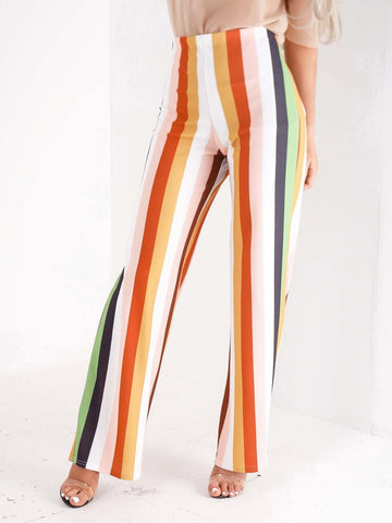 High Waisted Multi Stripe Trousers