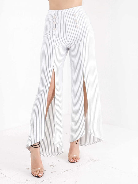 High Waisted Slit Detail Wide Leg Trousers