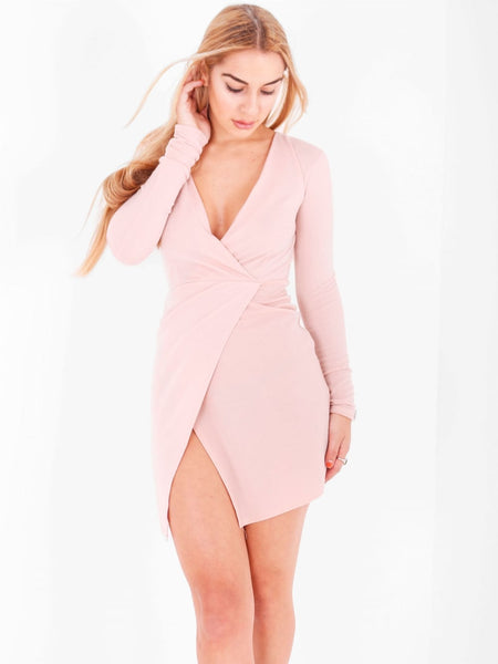 Jersey Asymmetric Plunge Mini Dress - Inoxclothing