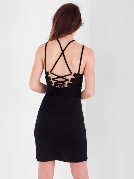 Lace Up Back Mini Bodycon Dress