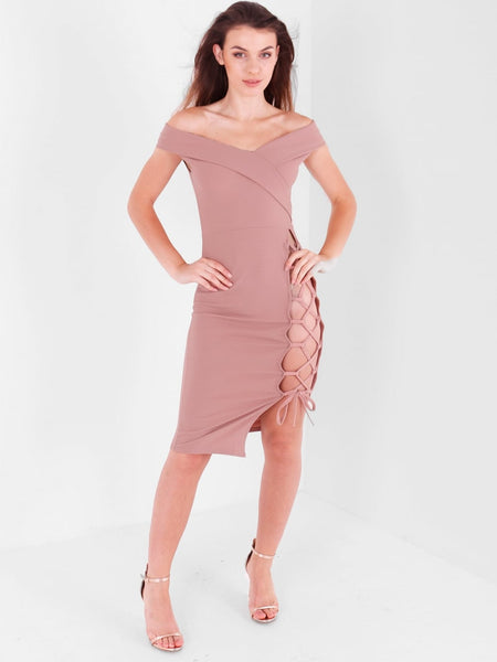 Lace up Detail Bardot Midi Dress