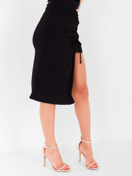 Lace Up Split Midi/Mini Skirt - Inoxclothing