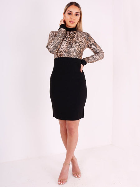 Leopard Print Long Sleeve Bodycon Dress - Inoxclothing