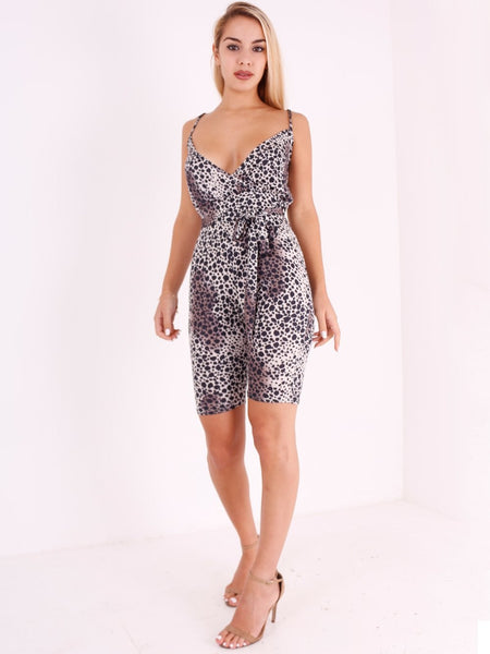 Leopard Print Plunge Belted Playsuit - Inoxclothing