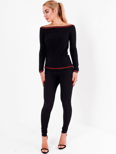 Long Sleeve Bardot Top with Trouser Set - Inoxclothing