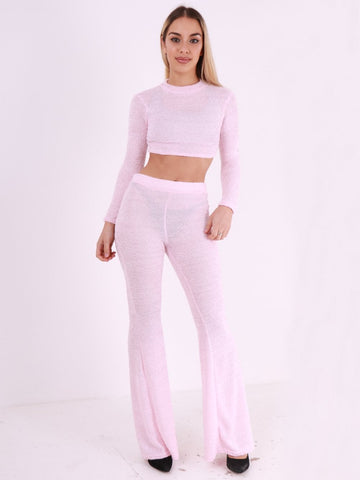 Long Sleeve Crop Top and Flared Leg Trouser Co Ord