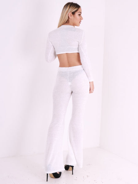 Long Sleeve Crop Top and Flared Leg Trouser Co Ord - Inoxclothing
