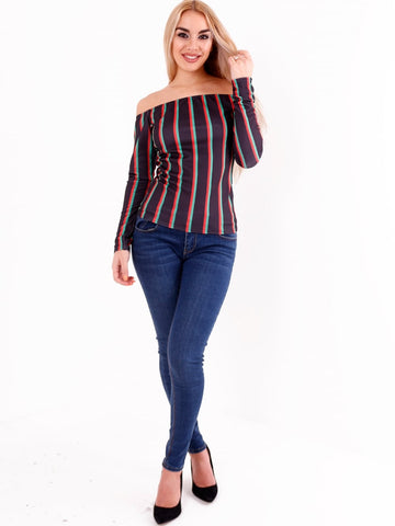 Long Sleeves Bardot Stripe Top - Inoxclothing