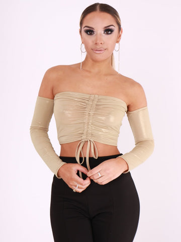 Metallic Rushed Bardot Top - Inoxclothing