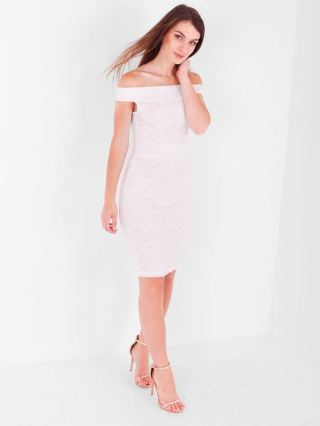 Midi Bardot All Over Lace Dress - Inoxclothing