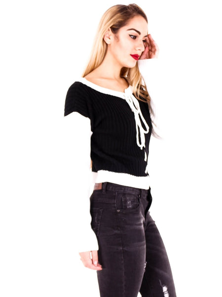Monochrome lace up Jumper
