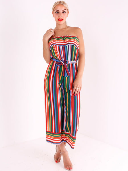 Multi Stripe Strapless Culotte Jumpsuit