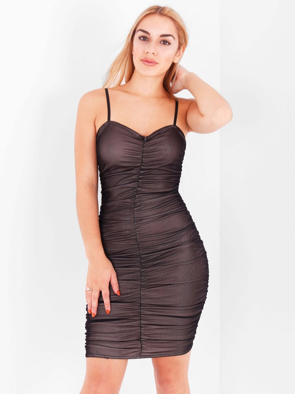 Nude Effect Sheer Bodycon Dress - Inoxclothing