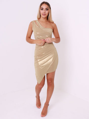 One Shoulder Metallic Wrap Over Dress - Inoxclothing