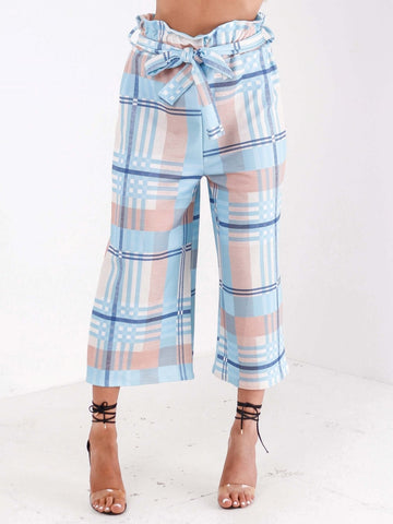 Pastel Print High Waisted Culottes - Inoxclothing