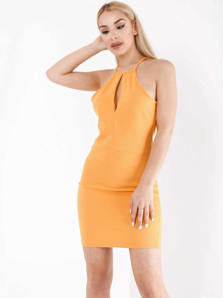 Ruched Back Detail Halter Dress - Inoxclothing
