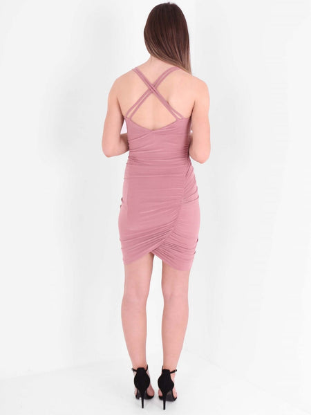 Ruched Cross Back Detail Mini Dress - Inoxclothing