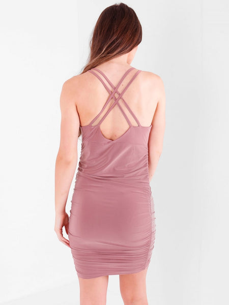 Ruched Cross Strap Mini Slinky Dres - Inoxclothing