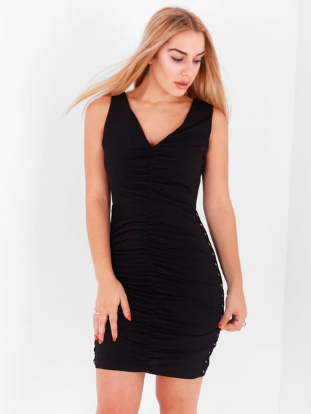 Ruched Lace Up Bodycon Dress