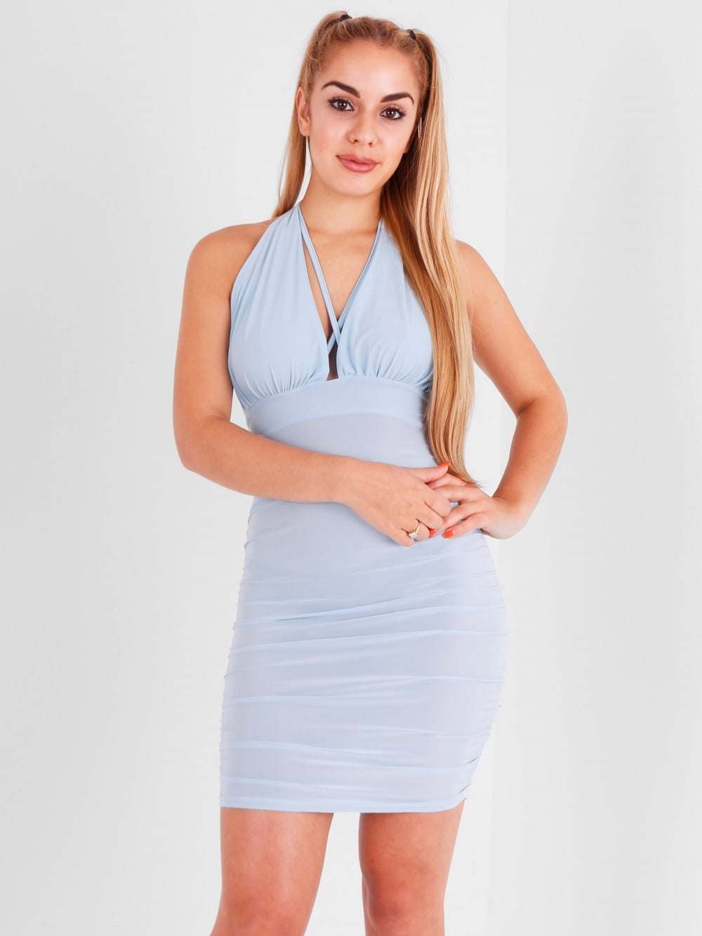 Strappy Halter Neck Backless Mini Dress - Inoxclothing