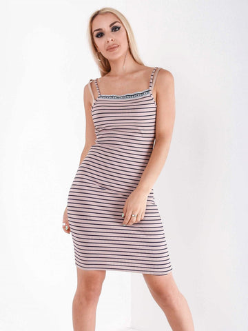 Street Style Stripe Slogan Dress
